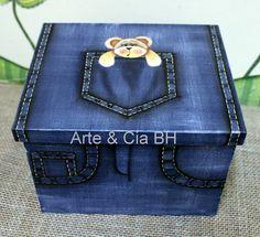 Arte & Cia - Belo Horizonte - Cursos de Artesanato em Madeira, Pintura Country: Caixa jeans com ursinho!!!!