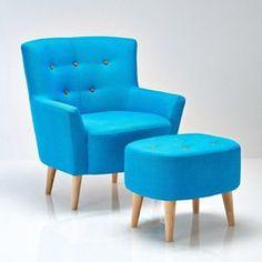 pouf repose pieds vintage en tissu bleu iceberg maisons du monde our next house pinterest. Black Bedroom Furniture Sets. Home Design Ideas
