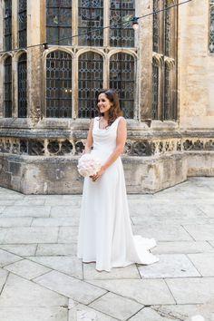 3bc9beec1c0 Bride Bridal Dress Gown Cowl Neck Train Peony Blush Pink Posy Bouquet  Hengrave Hall Wedding Gemma