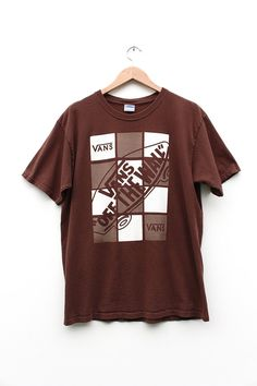 Vintage Vans T-shirt - 90s Vans Off The Wall Grunge Skate Tshirt - 90s Vans Off The Wall Surf Skate Brown T-shirt Size Lrg