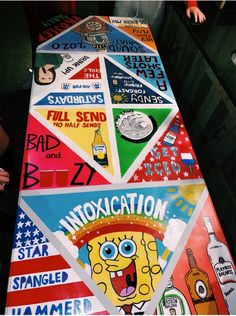 Custom Beer Pong Tables, Beer Table, Diy Table, Cooler Painting, Diy Painting, Alcohol Games, Diy Party Games, Drinking Games For Parties, Sorority Canvas