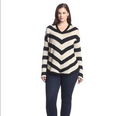 BB Dakota Plus Women's Kaili Stripe Sweater Roomy 2X - heavy-ish material - really nicely made.  Great with jeans and boots for the cooler weather. BRAND NEW never worn. BB Dakota Sweaters