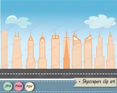 Skyscrapers clipart, JPG, PNG, pdf, card, invitations, tall building clip art, building png, city building, flat, apartment, US skyscrapers by PrettyDigiDesign on Etsy  Stop by my Etsy Shop: www.etsy.com/shop/TeoldDesign