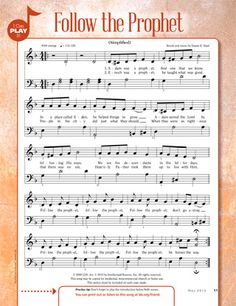 Lyrics to follow the prophet lds song learn