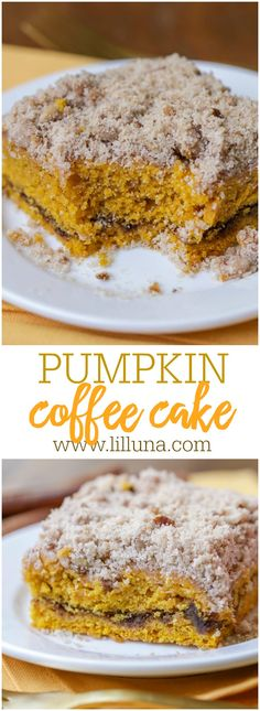 Delicious Pumpkin Coffee Cake with a brown sugar filling and topped with butter, pecans, cinnamon and sugar making it the perfect fall treat!