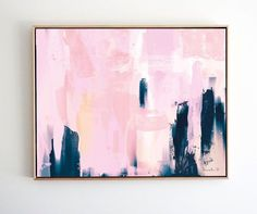 Printable Abstract Art, Navy Blue and Pink Art, instant download art, Large Abstract Art, Dan Hobday, Landscape, 20x24 art, living room art
