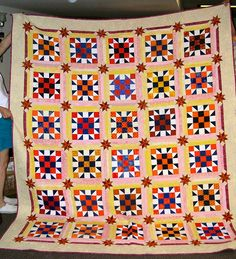 Yellow and Pink Does Too Go With Orange and Blue!  Made with blocks received by Irene Miller for a guild past presidency.