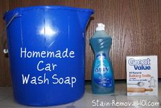 You can make your own homemade car wash soap with this recipe:  Ingredients:1/2 cup dishwashing liquid 1/2 cup baking soda 1 gallon warm water***z-affiliate-baking-soda.shtml***Directions: