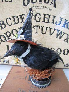 Halloween Crow, Mixed Media Halloween Display, Halloween Art, Raven Art, Crow Art, Halloween Decor