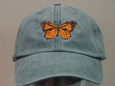 MONARCH BUTTERFLY HAT One Embroidered Insect Wildlife Cap See other ideas and pictures from the category menu…. Faneks healthy and active life ideas Hat Embroidery, Embroidery On Clothes, Embroidery Patterns, Butterfly Man, Monarch Butterfly, Bone Bordado, Diy Broderie, Painted Hats, How To Wash Hats