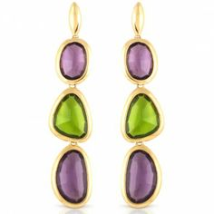 @Luxenter - Sabar Gold Plated Peridot and Amethyst Earrings #Citrusstv_Jewelry $309