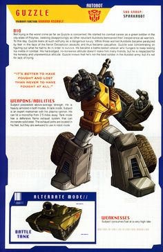 Transformer of the Day: Guzzle Transformers Decepticons, Transformers Characters, Gi Joe, Transformers Generation 1, 90s Cartoons, Anime, Manga, Cool Toys, Comic Books