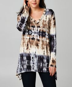 Love this Black & Taupe Tie-Dye Sidetail V-Neck Tunic on #zulily! #zulilyfinds