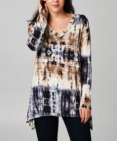 Look what I found on #zulily! Black & Taupe Tie-Dye Sidetail V-Neck Tunic - Women #zulilyfinds