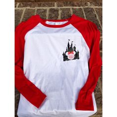 Disney Magic Kingdom Castle Minnie Mouse Raglan Shirt Red and White ($24) ❤ liked on Polyvore featuring tops, t-shirts, black, women's clothing, raglan shirts, graphic design t shirts, raglan t shirt, red and white shirt and graphic t shirts