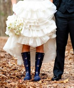 navy blue rain boots with little puppies on them for a rainy wedding