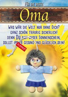 Meine Oma fährt im Hühnerstall... Wer kennt das Lied noch?  Oma ist einfach die BESTE! Zeigen wir ihr es auch mal wieder. von www.püppkes.de