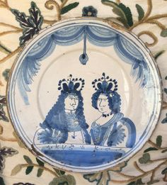 #williamandmary #delft #delftware royal portrait charger circa 1690 for sale #maiolica #faience #17thcentury