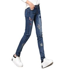 33.42$  Watch more here - http://ai49d.worlditems.win/all/product.php?id=32791986052 - Embroidery Jeans For Women Skinny Mid Waist Jeans Woman Denim Pencil Pants Stretch Women Jeans Blue Pants Calca Feminina E517
