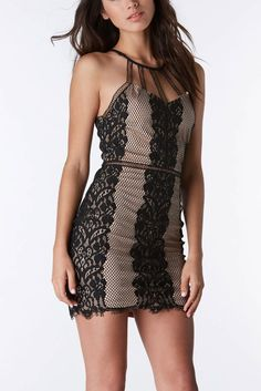 This Bombshell Lace Mini Dress in nude & black lets you embraces your feminine side. Pair with black or nude heels to complete the look (;  #trendy