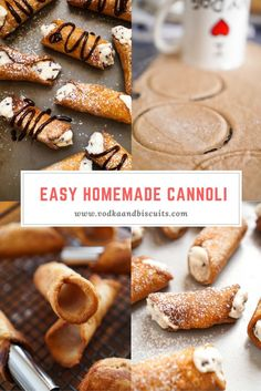 Homemade Cannoli Sweet Pastries, Italian Pastries, Italian Desserts, Italian Recipes, Just Desserts, Delicious Desserts, Dessert Recipes, Canadian Recipes, English Recipes