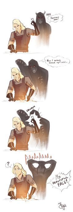 Flying shadow of Melkor trying to scare Mairon. Lol.  By valinwhore