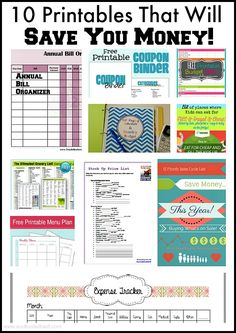 10 Printables That Will Save You Money! Being organized with paying your bills, knowing what you need and don't need at the grocery, planning your meals, tracking expenses etc will save you money.