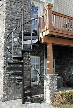 Powder Coated Black Exterior Spiral Staircase