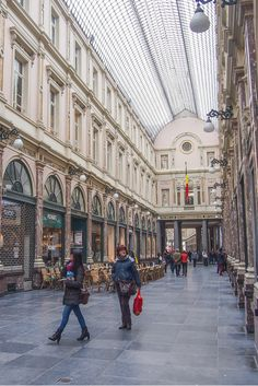 Royal St. Hubert Galleries in Brussels, Belgium, one of Europe's oldest shopping malls.