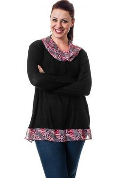 Plus Size Pink cowl neck long sleeve solid print top featuring sheer animal print neckline and hem. This is not your average top so flaunt your style. TAGS # , #plus size wholesale, #wholesale curvy, #Plus Size Wholesale Top, #curvy tops, #Wholesale Tops , #Basics, #Solid, #Boutique #Boutique Wholesale, #Fall Clothing Wholesale, #USA Made Wholesale SELF:87% POLYESTER. 10% RAYON. 3% SPANDEX. CONT: 100% POLYESTER. HAND WASH WITH COLD WATER. DO NOT BLEACH. HANG OR LINE DRY. MADE IN USA. $15.95