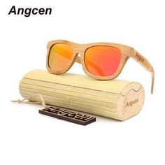 ca866d5f620 Angcen 2017 New fashion Products Men Women Glass Bamboo Sunglasses au Retro  Vintage Wood Lens Retro