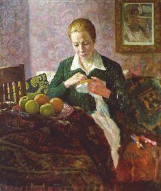 """Устинов Е.А. """"За вышиванием. Портрет сестры"""" (х.м., 1957)"""