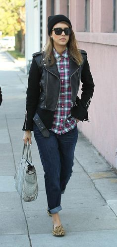 3 different ways to style a classic plaid shirt: see Reese Witherspoon, Beyonce, and Jessica Alba take it on (the latter pairs with boyfriend jeans, leopard flats, a black leather motorcycle jacket, and statement necklace)