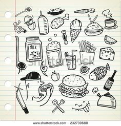 #food and #beverage doodle - stock vector  #design #graphic #vector…