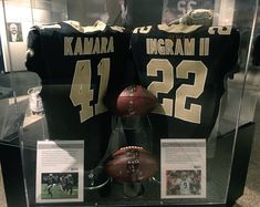 Now on display at the Pro Football HOF: Jerseys of @saints RBs @MarkIngram22 & @alvinkamara from Week 16 when they became 1st RB tandem since 1985 to both have 1,400 scrimmage YDS in same season. Week 17, became 1st RB duo in @NFL history to each record at least 1,500 scrimmage YDS in same season. WhoDat!!