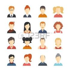 flat avatar: Decorative social media business blog users profile avatar trendy hairstyle design icons collection isolated flat vector illustration