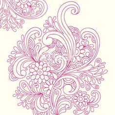 Henna Tattoo Paisley Doodle Vector Royalty Free Stock Vector Art Illustration