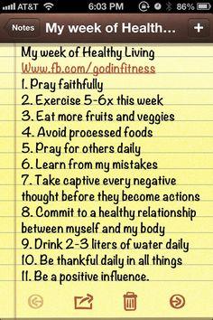 My week of Healthy Living #1