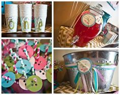 Cute as a Button 1st Birthday  {Kara's Party Ideas}: paper button straw toppers