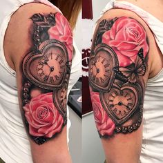 Super tattoo shoulder clock roses 44 ideas – tattoos for women half sleeve Mommy Tattoos, Dope Tattoos, Badass Tattoos, Tattoos For Kids, Tattoos For Daughters, Pretty Tattoos, Beautiful Tattoos, Body Art Tattoos, Clock Tattoos