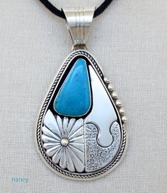 Large Turquoise & Silver Pendant by Delbert Vandever - nice silver work surrounding the stone...