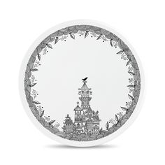 Porcelain wall plate and cake plate..   Hand-Drawing..