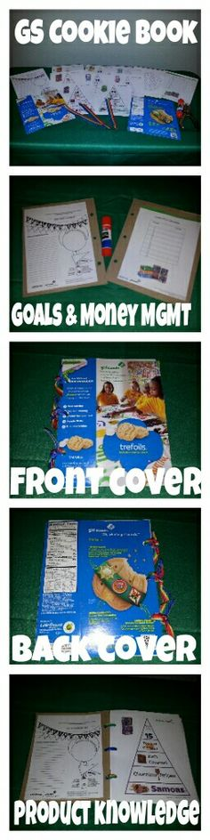 DIY Girl Scout Cookie Book  Front and back cover is cut from an actual cookie box. All the informative sheets were found on little brownie baker website under cookie rally. They are: -Sell-ebration Goal Worksheet, Cookie Intelligence -Money Management, Cookie Tracker. Make sure the ribbon is tied loose to allow flexibility in turning the pages.  Happy Scouting!