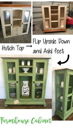 Old Entertainment Cabinet Top Flipped Upside Down and Repurposed - Christina Faye Repurposed Think an old entertainment center/hutch top can't be used without its base? I repurposed this piece of junk into a beautiful farmhouse cabinet. Diy Furniture Redo, Green Furniture, Refurbished Furniture, Repurposed Furniture, Furniture Projects, Rustic Furniture, Home Furniture, Antique Furniture, Furniture Stores