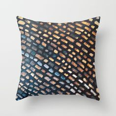 Parisienne Walkways Throw Pillow  watercolors,hand painted,geometrical,tiles,cobbles,cobblestones,stones,road,path,reflection,dark,night,rain,blue and brown