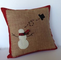 Snowman Christmas Pillow cover, holiday pillow, decorative p.- Snowman Christmas Pillow cover holiday by ThatDutchGirlPillows - Christmas Sewing, Primitive Christmas, Christmas Snowman, Christmas Diy, Christmas Decorations, Holiday, Diy Snowman, Christmas Cushions, Christmas Pillow Covers