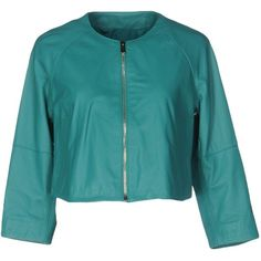 Annarita N. Jacket (€440) ❤ liked on Polyvore featuring outerwear, jackets, light green, blue jackets, long sleeve jacket, real leather jackets, multi pocket jacket and genuine leather jackets
