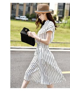 韓国ファッション♪ストライプ柄7分丈サロペット