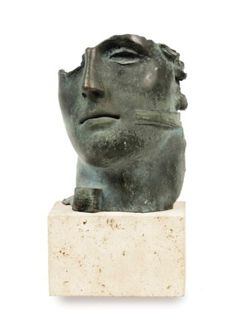 Igor Mitoraj (b. 1944) Untitled signed 'Mitoraj' (along the lower edge of the bronze); numbered '19/250' (on the under side of the bronze) bronze with a green patina on a stone base 28.5 x 15 x 12.5 cm. (including the stone base) Cast in 1987-1990, this work is number nineteen from an edition of two hundred and fifty