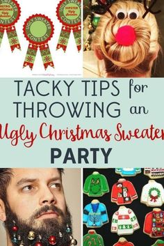 Why host tasteful holiday events when you can throw an Ugly Christmas Sweater Party? We've got tips for a delightfully tacky celebration! Couple Christmas, Tacky Christmas Party, Christmas Party Table, Diy Ugly Christmas Sweater, Christmas Party Decorations, Christmas Diy, Christmas Projects, Christmas Outfits, Christmas Events